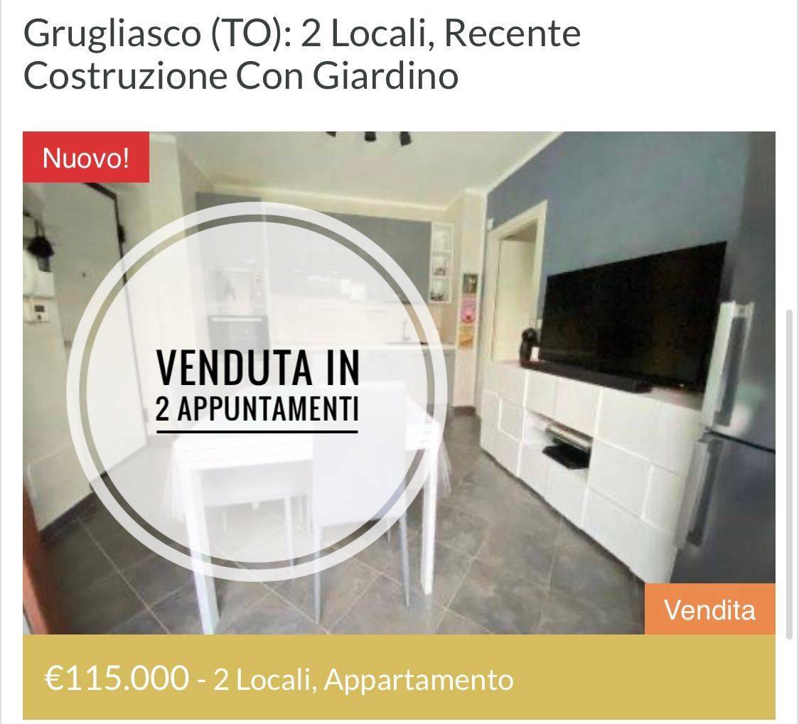 Grugliasco (TO): 2 locali, recente costruzione con giardino
